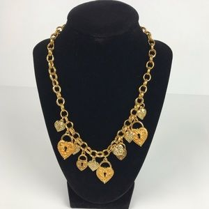 Vintage | Gold Tone Link Necklace with Hearts